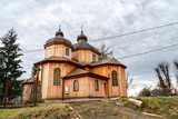 typical wooden church in village near Sanok town. Southern Poland