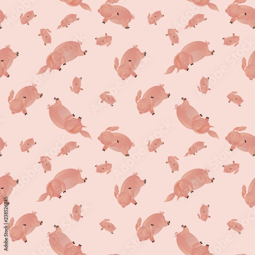 seamless pattern with pig, vector textile fabric. sweet pig