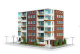 European modern residential complex. outdoors. 3d illustration - 238535439