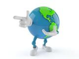 World globe character pointing finger