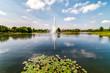 Chicago Botanic Garden Landscape with fountain in the pond, Glencoe, Illinois, USA