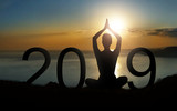 Yoga lifestyle. Happy new year 2019 greeting ard