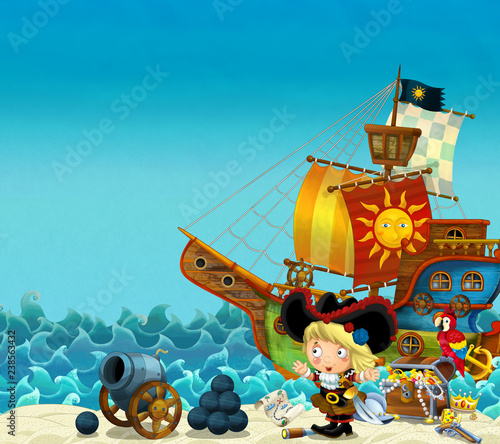 Cartoon scene of beach near the sea or ocean - pirate captain woman on the shore with cannon and treasure chest - pirate ship - illustration for children - 238563432