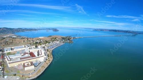 Fototapeta San Quentin State Prison Correctional Facility Aerial Above View Richmond San Rafael Bridge