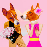 Minimal Contemporary collage art. Dogs in love. Date. St. Valentine's Day concept - 238566255
