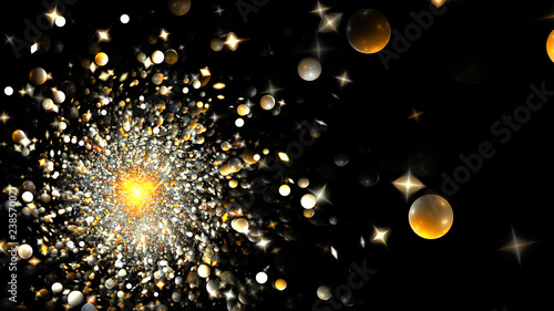 Shiny yellow, orange and white bubbles and sparkles. Abstract holiday background. Fantastic 3D rendered digital fractal illustration.