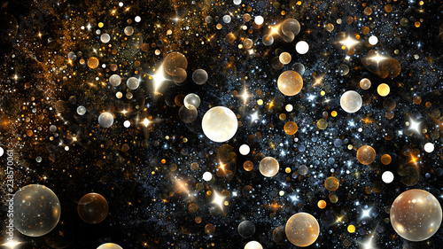 Shiny yellow and white bubbles and sparkles. Abstract holiday background. Fantastic 3D rendered digital fractal illustration.