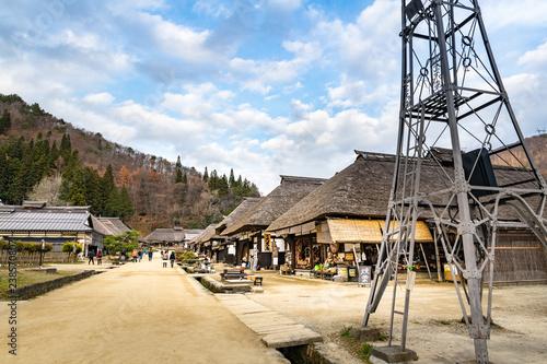 福島日光街道宿場町大内宿と火の見櫓