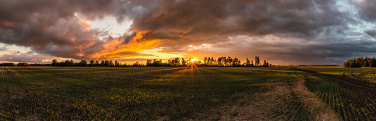 Beautiful sunset in the Russian countryside © Sergey