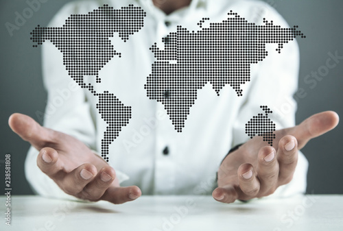 Man holding illustration world map. International business concept