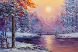 White bridge over the river, winter landscape