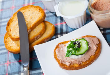 Toast with pate, cheese, cucumber