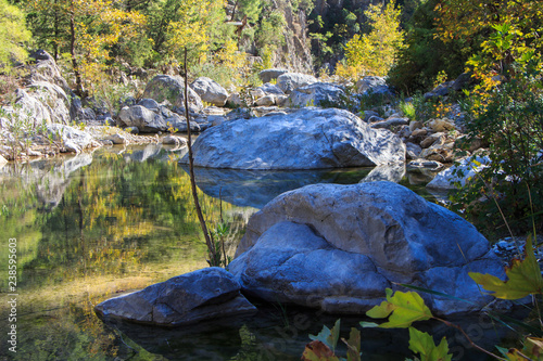 Foto Murales rough mountain river in the canyon