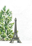 Eiffel Tower Christmas tree decoration white background Paris France