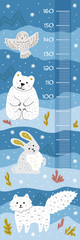 Meter wall with cute cartoon north pole animals. Blue background. Vector template. © senior_pepeto
