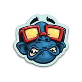 Scared monkey sticker. Isolated vector illustration. - 238606421