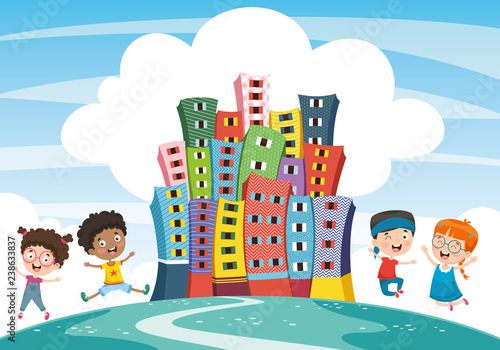 Vector Illustration Of Abstract City And Children - 238633837