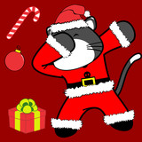 dab dabbing pose cat xmas claus costume cartoon in vector format very easy to edit