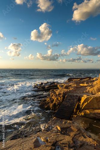 Amazing Sunset Landscape of the rocks at the coastline of Chernomorets, Burgas region, Bulgaria