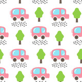 Vector seamless pattern with car and trees. Children print. Hand drawn style