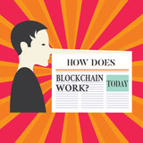Writing note showing How Does Blockchain Work. Business photo showcasing Decentralized money trading cryptocurrency Man with a Very Long Nose like Pinocchio a Blank Newspaper is attached - 238676232