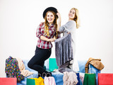 Two happy female friends after shopping - 238681259