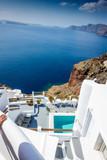 Seascape and tourist resort at Santorini island; Greece