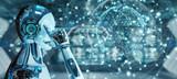 White male robot using digital screen interface 3D rendering - 238683453