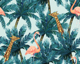 Exotic summer print. Seamless pattern with palm tree, giraffe and flamingo. Vector illustration - 238685219