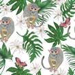 Watercolor painting seamless pattern with cute monkey and butterfly on tropical leves, flowers background