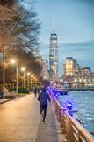 Hudson River Park promenade and Downtown Manhattan at night, New York City - 238689414