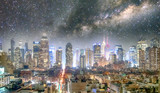 Midtown Manhattan aerial view at night as seen from Hell's Kitchen rooftop with starry night - 238689462