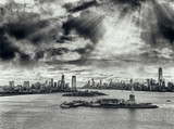 Aerial view of Jersey City and Downtown Manhattan from helicopter - 238689616