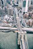 Overhead aerial view of Brooklyn Bridge from helicopter, New York City in winter - 238689865