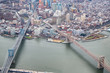 Aerial view of Manhattan and Brooklyn Bridge from helicopter, New York City in winter