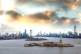 Aerial view of Jersey City and Downtown Manhattan from helicopter - 238690259