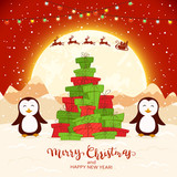 Penguins and Christmas Tree from Gifts on Red Background