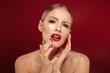 Leinwanddruck Bild - Beauty portrait of an attractive blonde haired topless woman