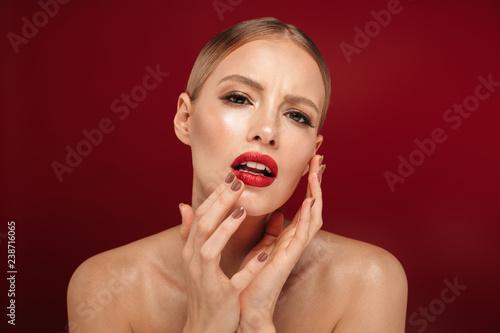 Leinwanddruck Bild Beauty portrait of an attractive blonde haired topless woman