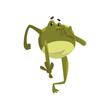 Green funny frog amfibian animal cartoon character vector Illustration on a white background