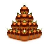 Christmas balls pyramid orange golden. Happy New Year baubles triangle group decoration shiny beautiful. Merry Xmas invitation. 3d rendering