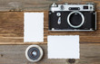 two retro photo, vintage camera and lens