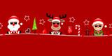 Card Santa, Rudolph & Elf Sunglasses Symbols Retro