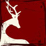 Reindeer Beige Retro Dark Red Background
