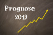 Blackboard with the message -  Prognose 2019