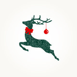 Christmas Card Green Reindeer Ornament Red Bow