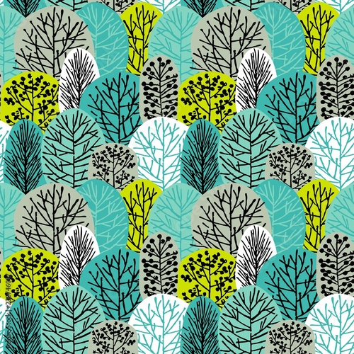 Seamless pattern with trees. Drawing of forest by hand. - 238746007