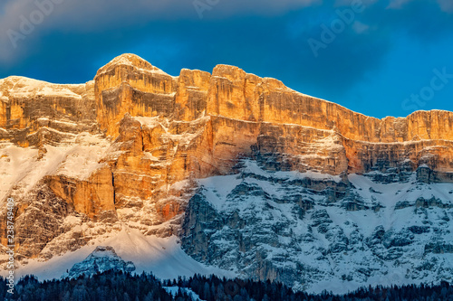 Monte croce dolomites badia valley mountains at sunset