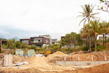 Construction of a residential house on the beach