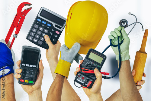 Foto Murales employment job search - group of various profession workers with tools in hands
